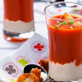 Gazpacho with goat's cheese and ham mousse